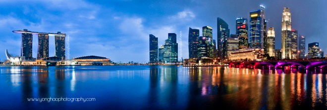 Singapore Panoramic Skyline: CBD and MBS Aspect Ratio 2.95:1