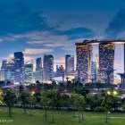 Futuristic Singapore Panoramic Skyline MBS, Garden by the Bay and CBD from Marina Barage Aspect Ratio 3:2