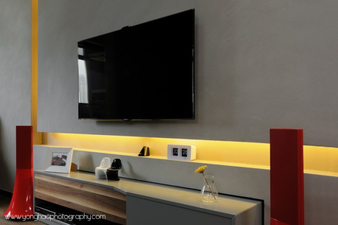 Close up of tv console by YongHao Photography