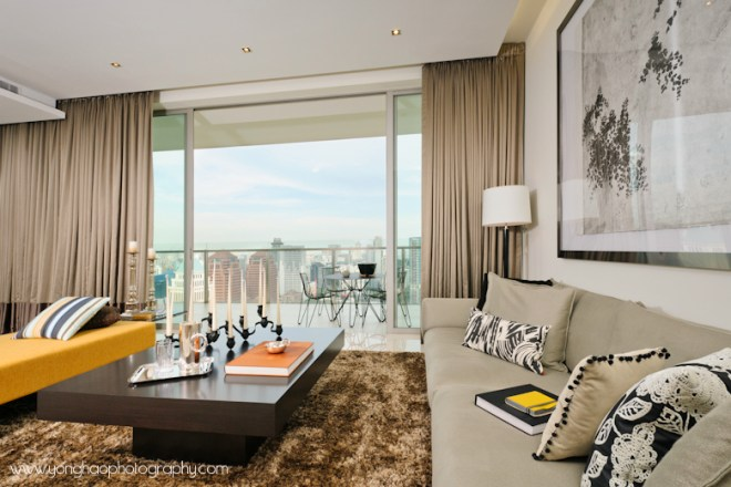 Living room with panoramic view of orchard road - Interior photography by YongHao Photography