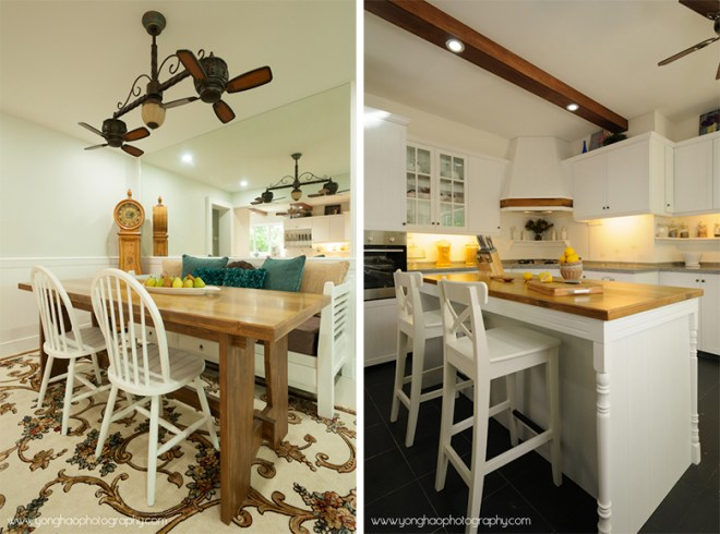 Left: Dining area, Right: Kitchen