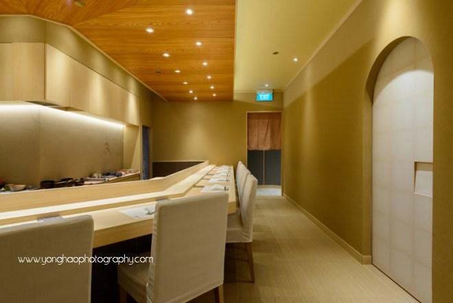 SUSHI KIMURA, Palais Renaissance, japanese restaurant, fine dining, interior photography, Singapore, orchard road, yonghao photography