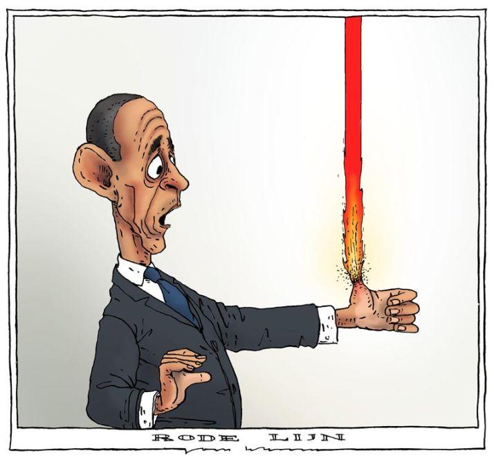 La ligne rouge d'Obama vue par Joep Bertrams