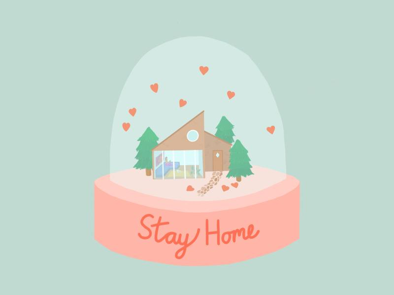 "An illustration of a modern looking home with slanted roofs and a wall of windows, surrounded by green fir trees, sits in a snow globe, tiny red hearts drifting around it. The base of the snowglobe is pink and says ""Stay Home"" in simple cursive. The background is light turquoise which shines through the snowglobe."
