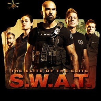 """A promotional poster for the TV show SWAT: Five of the main characters lined up in a V formation, wearing minimal black uniforms, looking serious. There is a helicopter flying above and on top of the red text that says """"S.W.A.T."""" orange letters read """"The elite of the elite."""""""
