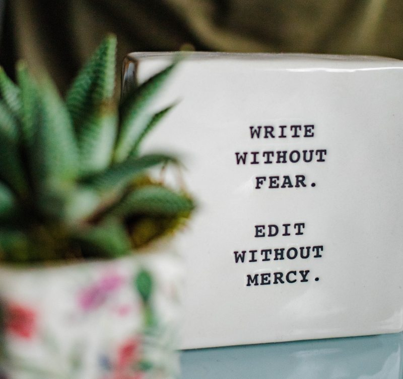 "A bright green succulent in a colorful pot in soft focus, next to a white tile that reads, ""Write without fear. Edit without mercy."""