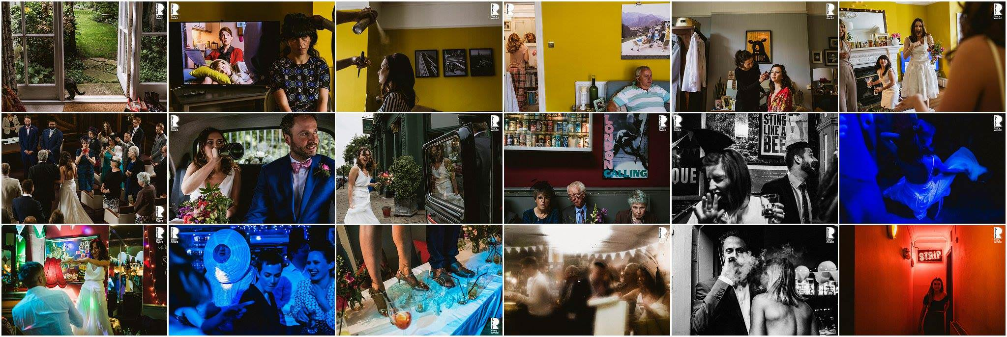 Award winning documentary wedding photography by UK photographers Liam & Dom Shaw. Collage of award winning images - This Is Reportage International Awards