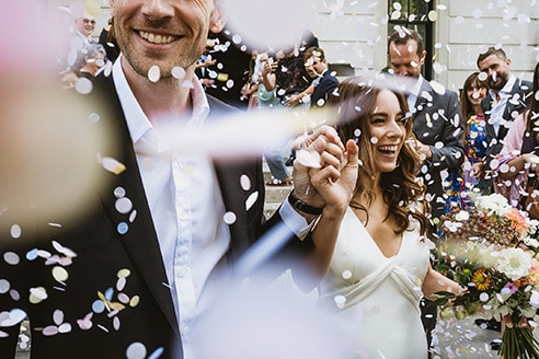 Town Hall Hotel Wedding Photography London confetti bride and groom