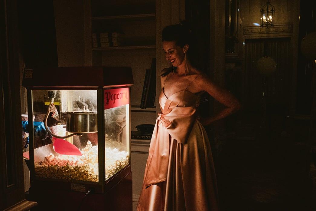 popcorn at The Ned. Wedding reception Gucci wedding dress