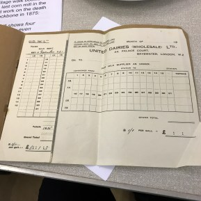 Milk account book brought along by a local farming family