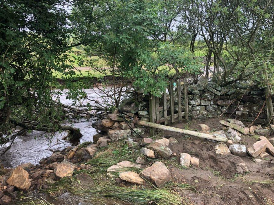A bridge has been swept away
