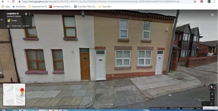 Google Streetview image of 32 Longfellow Street, off Long Lane in the Toxteth area of Liverpool