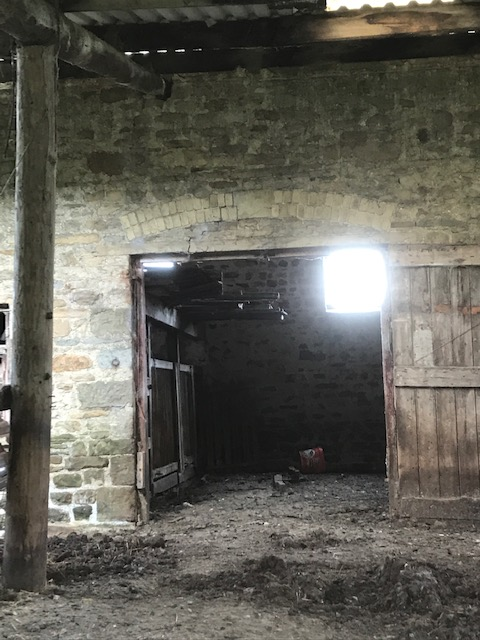 Barn interior near Town Head farm, West Burton. Skelbuse to left of cart entranc