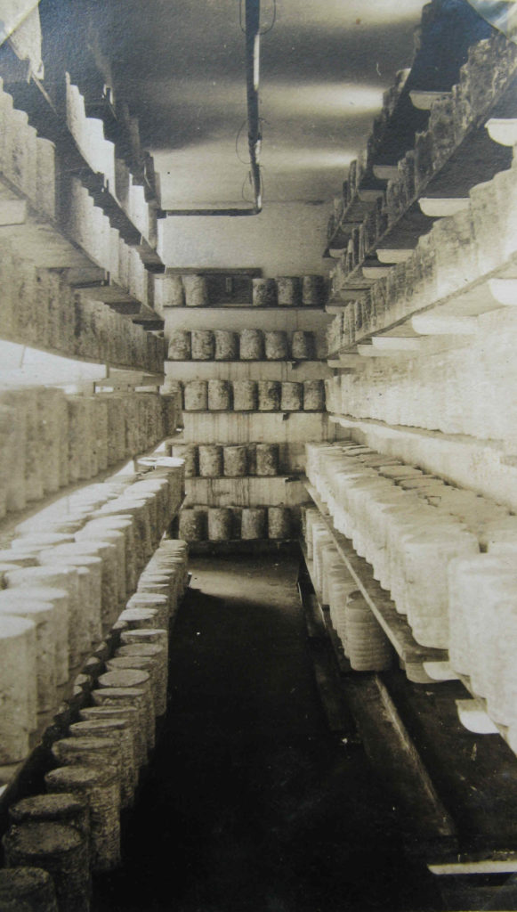 Coverham Dairy cheese-maturing room. Unknown date. Courtesy of Charles Rowntree