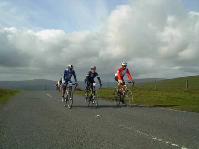 Cycling up the steep climb at Buttertubs