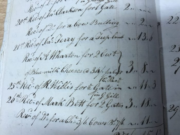Sale of blue milk cheeses recorded in one of James Willis' Yorescott farm account books