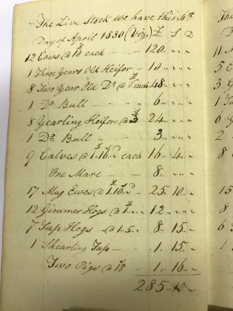 List of stock kept at Yorescott from James Willis' account books