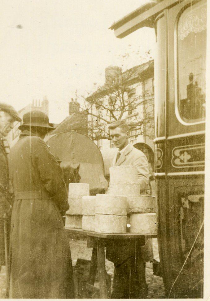 John Leland selling cheese at Yarm Fair 1934