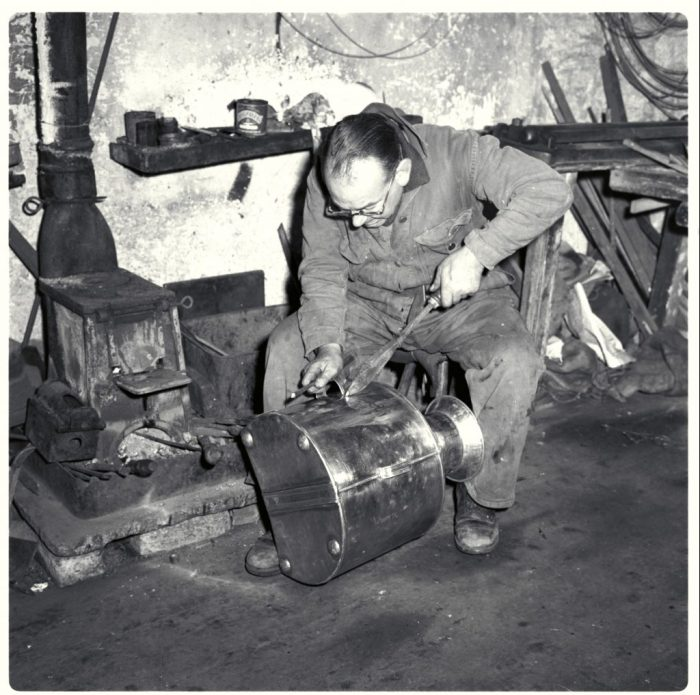 Frank Shields making a back can. Dales Countryside Museum collection