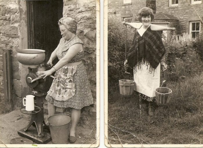The two photos taken at Thornton Rust by Dr Kissling in 1964. One of myself aged about 17, then Eleanor Metcalfe, showing how to carry two buckets with a yoke. The other one of mother, Alethea Metcalfe working the separator. We would be using that separator to make cream at that time for sale on our milk round.