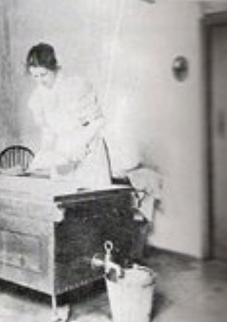 Margeurite Rowntree nee Willis making cheese, unknown date. Courtesy of Charles Rowntree and family