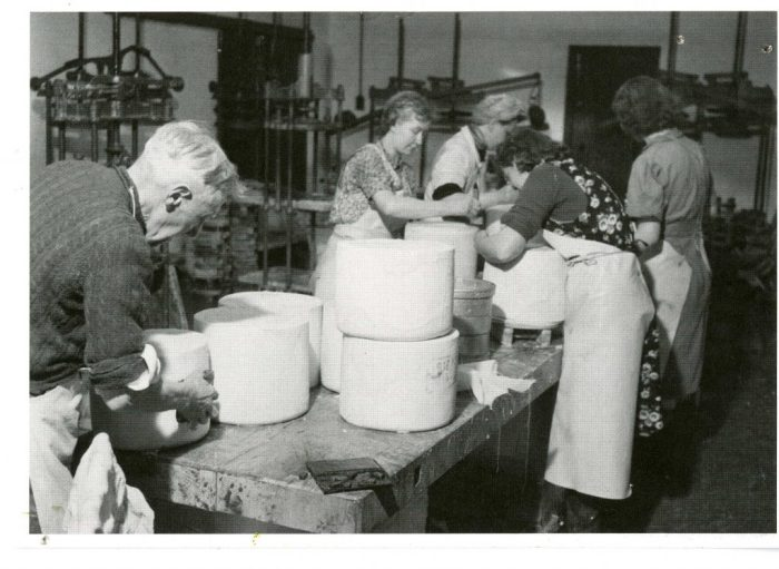 Wrapping traditional Wensleydale cheeses in cloth. 1950s. Courtesy of Mary Dinsdale