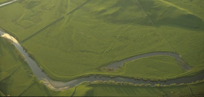 Oblique aerial image of stack stands on Floshes Hill, by Robert White YDNPA