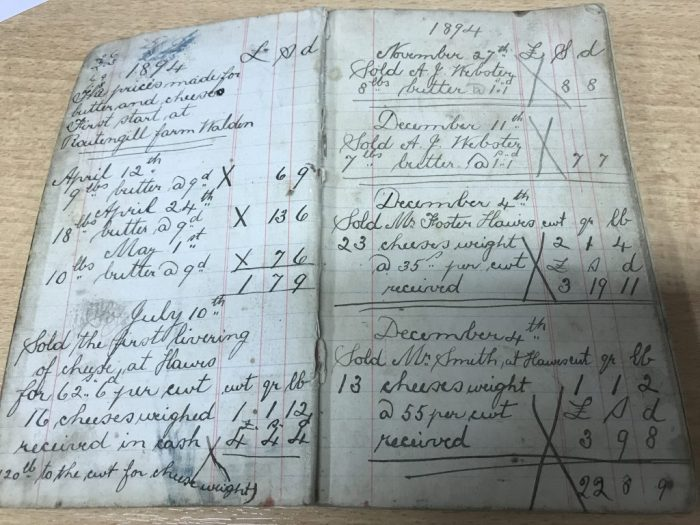 Cheese and butter sales recorded by Elizabeth Wilkinson in 1894