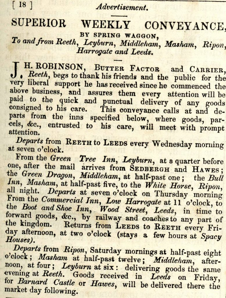Butter Factor advert Wensleydale Advertiser 4th February 1845