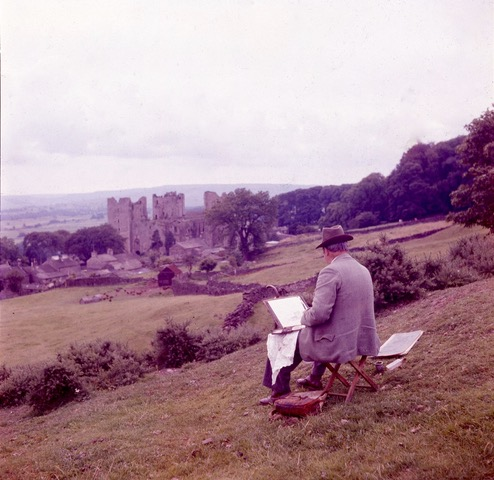 Fred Lawson painting Castle Bolton. Courtesy of John Duncalfe