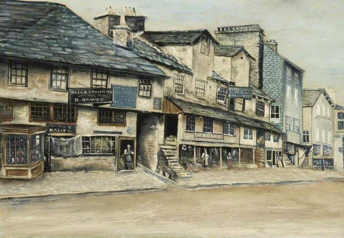British (English) School; Part of Stricklandgate, Kendal, Showing the 'Rose and Crown Inn' and the 'White Lion Inn'; Kendal Town Council; http://www.artuk.org/artworks/part-of-stricklandgate-kendal-showing-the-rose-and-crown-inn-and-the-white-lion-inn-143125