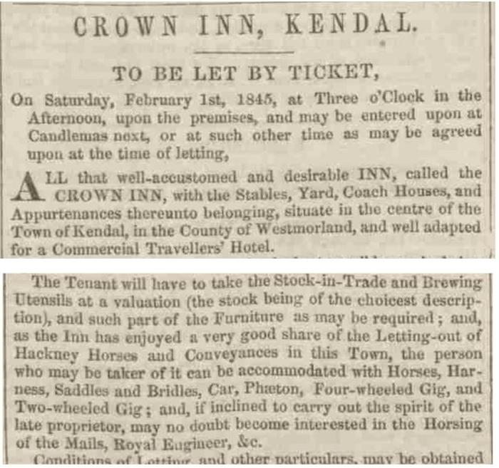 Kendal Coaching Inn sale advert from the Westmorland Gazette - Saturday 18 January 1845