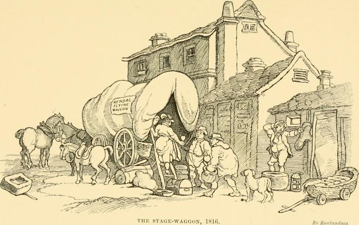 The Stage Wagon (after Thomas Rowlandson 1816)  By Internet Archive Book Images - https://www.flickr.com/photos/internetarchivebookimages/14596016587/ Source  book page : https://archive.org/stream/stagecoachmailin01harp/stagecoachmailin01harp#page/n152/mode/1up , No restrictions, https://commons.wikimedia.org/w/index.php?curid=43718182
