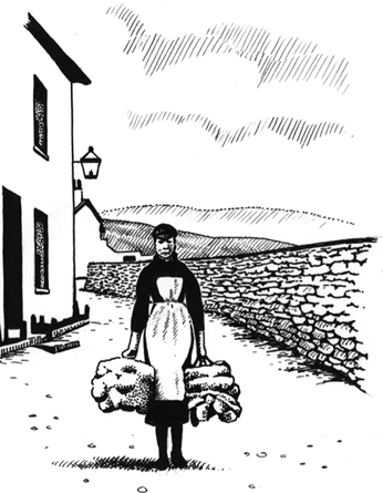 'The Bump Carrier'. Girl carrying a delivery of bump yarn in Dent, ready to be knitted by locals into stockings. Bump was a thick oily yarn suitable for hardwearing knitted goods.