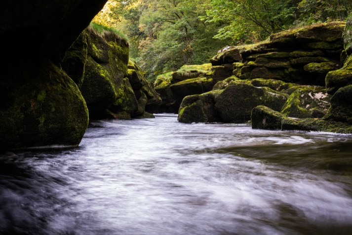 A photograph of the bubbly water of The Strid flowing through the rocks