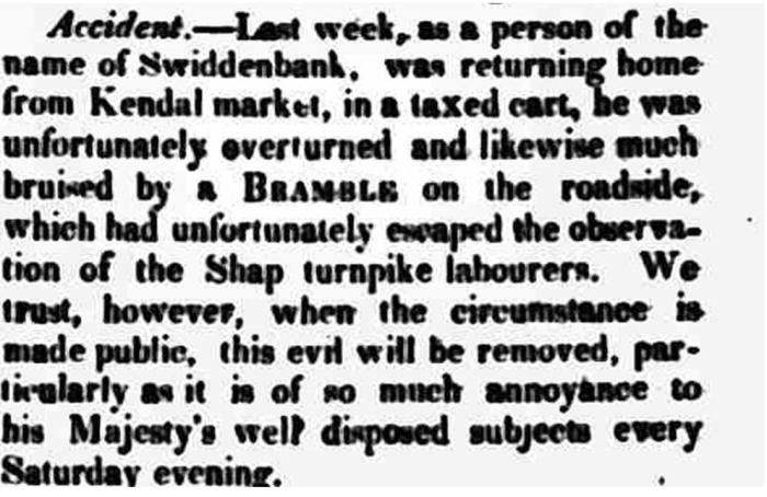 Westmorland Advertiser and Kendal Chronicle - Saturday 08 February 1823. Newspaper image © The British Library Board. All rights reserved. With thanks to The British Newspaper Archive (https://www.britishnewspaperarchive.co.uk/).