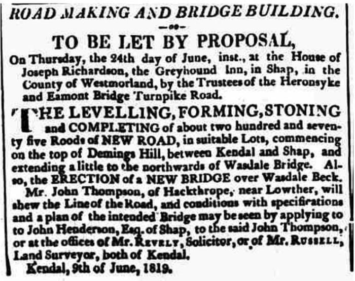 Westmorland Advertiser and Kendal Chronicle - Saturday 12 June 1819. Newspaper image © The British Library Board. All rights reserved. With thanks to The British Newspaper Archive (https://www.britishnewspaperarchive.co.uk/).