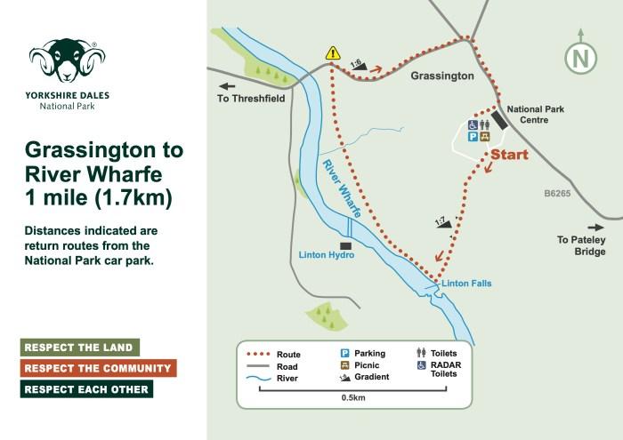 Map of walks for Grassington.