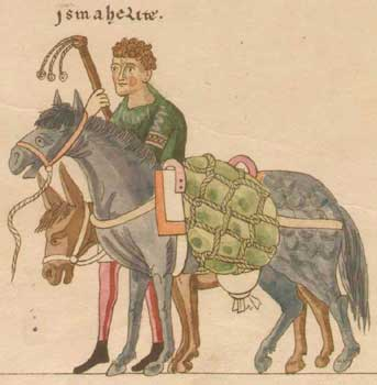 Medieval packhorse and donkey from Hortus Deliciarum.