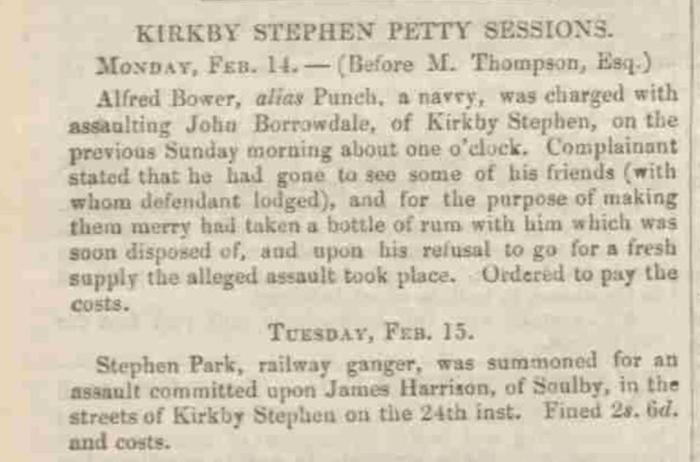 Westmorland Gazette - Saturday 26 February 1859. Newspaper image © The British Library Board. All rights reserved. With thanks to The British Newspaper Archive (https://www.britishnewspaperarchive.co.uk/).