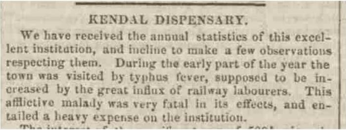Westmorland Gazette - Saturday 15 January 1848. Newspaper image © The British Library Board. All rights reserved. With thanks to The British Newspaper Archive (https://www.britishnewspaperarchive.co.uk/).