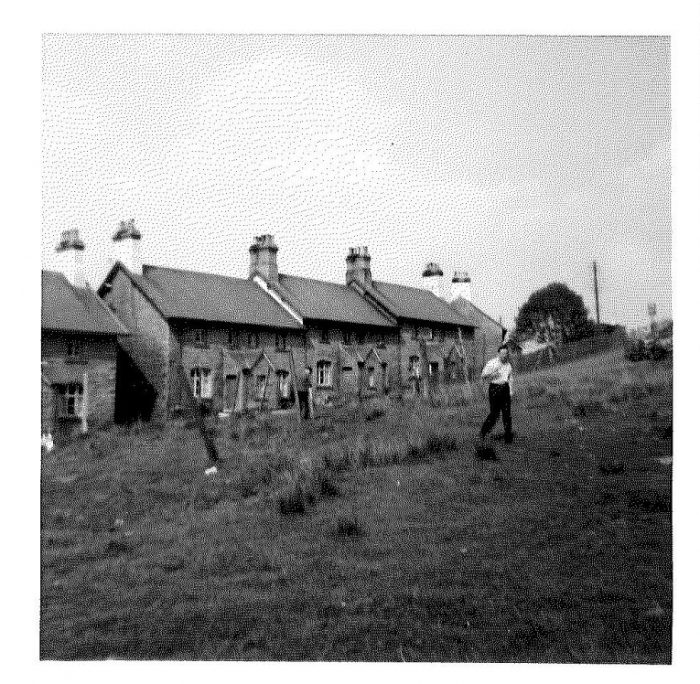 Photograph is black and white. It shows some people standing in the drying area in front of Garsdale cottages.
