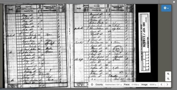 Joseph Ratliff's family (top left) in Old Hutton 1841 census. © Crown Copyright Images reproduced by courtesy of The National Archives, London, England. www.NationalArchives.gov.uk & www.TheGenealogist.co.uk