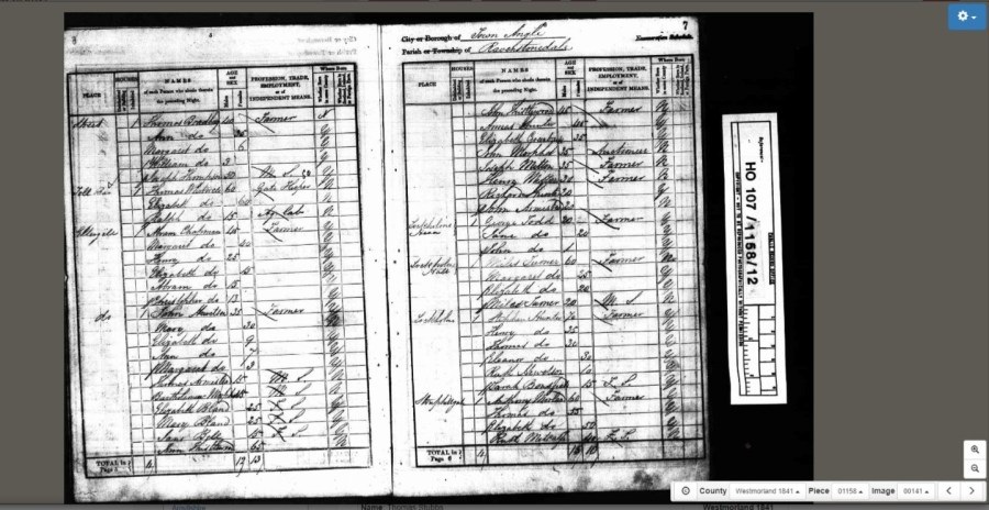 Town Angle, Ravenstonedale 1841 census. Stouphill Gate is bottom right © Crown Copyright Images reproduced by courtesy of The National Archives, London, England. www.NationalArchives.gov.uk & www.TheGenealogist.co.uk