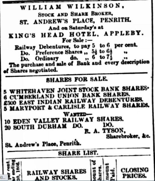 Cumberland & Westmorland Advertiser, and Penrith Literary Chronicle 22 January 1867 Newspaper image © The British Library Board. All rights reserved. With thanks to The British Newspaper Archive (https://www.britishnewspaperarchive.co.uk/).
