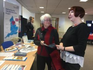 A member of the public learns more about the Yorkshire and Humber Genomes Programme