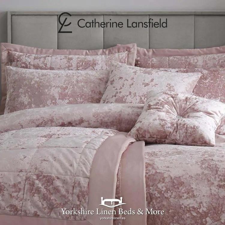 crushed velvet bedspread in blush pink