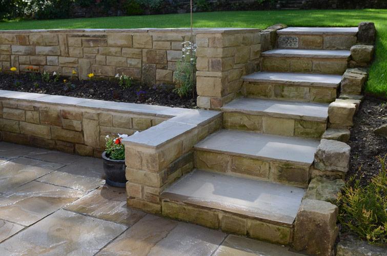 Patio, walling & garden steps, Harrogate - Yorkshire Pro ... on Backyard Patio Steps id=78848