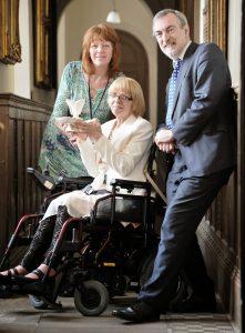 Helen Pratt (left) with budding pottery artist Carol O'Neile and John Roles, head of Leeds museum