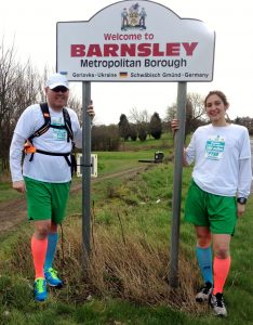 Simon and Louisa by the Barnsley sign on day one